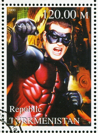TURKMENISTAN - CIRCA 2000: stamp printed by Turkmenistan, shows Dick Grayson, Batman forever, circa 2000