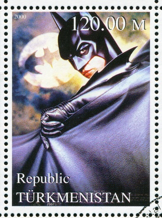 TURKMENISTAN - CIRCA 2000: stamp printed by Turkmenistan, shows Batman, Batman forever, circa 2000 Editorial