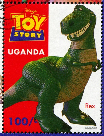 UGANDA - CIRCA 1997: stamp printed by Uganda, shows Toy Story, Rex, circa 1997.