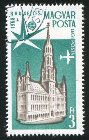 bruxelles: HUNGARY- CIRCA 1958: stamp printed by Hungary, shows Town Hall, Bruxelles, circa 1958