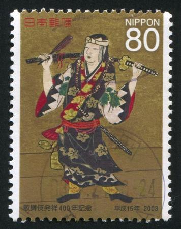 kabuki: JAPAN - CIRCA 2003: stamp printed by Japan, shows Kabuki, circa 2003 Stock Photo