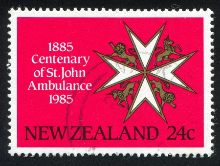 centenary: NEW ZEALAND - CIRCA 1985: stamp printed by New Zealand, shows St. John Ambulance Association Centenary, circa 1985