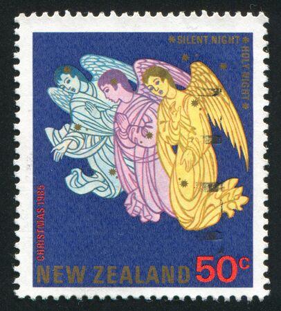 carol: NEW ZEALAND - CIRCA 1985: stamp printed by New Zealand, shows Angels Singing a Carol, circa 1985