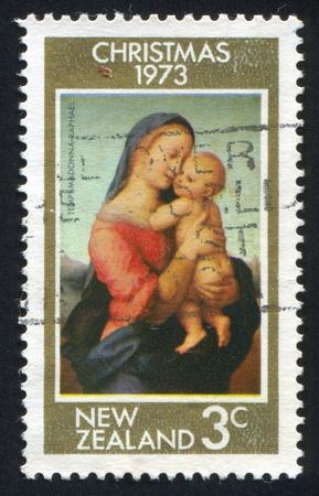 religious christmas: NEW ZEALAND - CIRCA 1973: stamp printed by New Zealand, shows Tempi Madonna by Rafael, circa 1973 Stock Photo