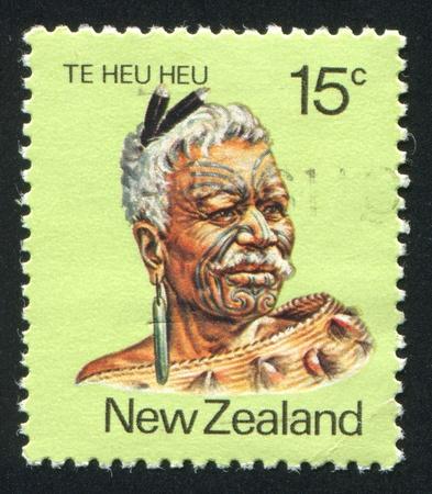 NEW ZEALAND - CIRCA 1980: stamp printed by New Zealand, shows Maori Leader Te Heu Heu Tukino IV, circa 1980
