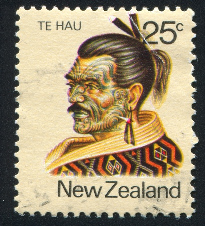 NEW ZEALAND - CIRCA 1980: stamp printed by New Zealand, shows Maori Leader Te Hau-Takiri Wharepapa, circa 1980 Stock Photo - 12993996