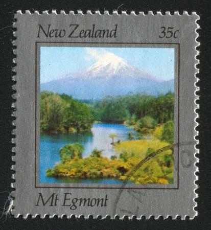egmont: NEW ZEALAND - CIRCA 1983: stamp printed by New Zealand, shows Mountain Egmont, circa 1983 Stock Photo