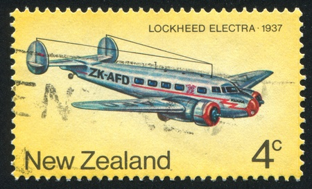 NEW ZEALAND - CIRCA 1974: stamp printed by New Zealand, shows Lockheed Electra, circa 1974 Stock Photo - 12999342