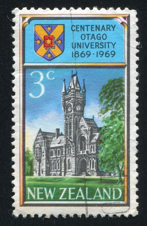 NEW ZEALAND - CIRCA 1969: stamp printed by New Zealand, shows Centenary of the University of Otago, circa 1969 Stock Photo - 12993997