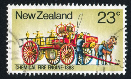 NEW ZEALAND - CIRCA 1977: stamp printed by New Zealand, shows Fire Fighting Equipment: Chemical fire engine, circa 1977 photo