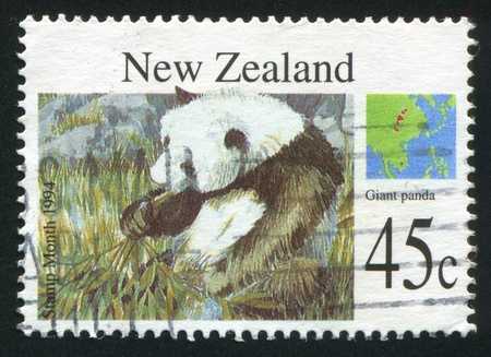 ingestion: NEW ZEALAND - CIRCA 1994: stamp printed by New Zealand, shows Wild animals, Giant panda, circa 1994