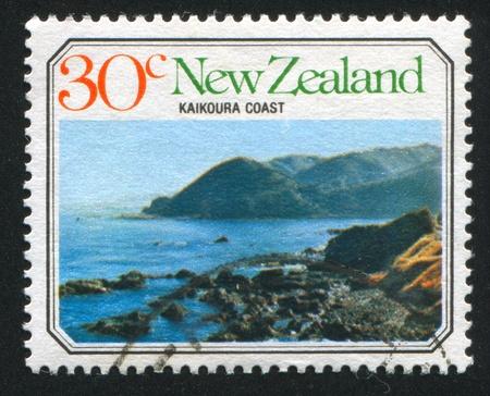 kaikoura: NEW ZEALAND - CIRCA 1977: stamp printed by New Zealand, shows Ocean Beach, Kaikoura Coast, circa 1977