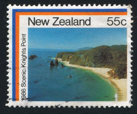 NEW ZEALAND - CIRCA 1986: stamp printed by New Zealand, shows Knight's Point, circa 1986 Stock Photo - 12998765