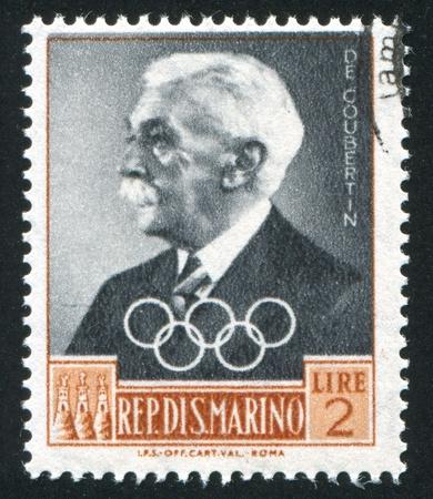 SAN MARINO - CIRCA 1959: stamp printed by San Marino, shows Pierre de Coubertin, circa 1959 Stock Photo - 12993734