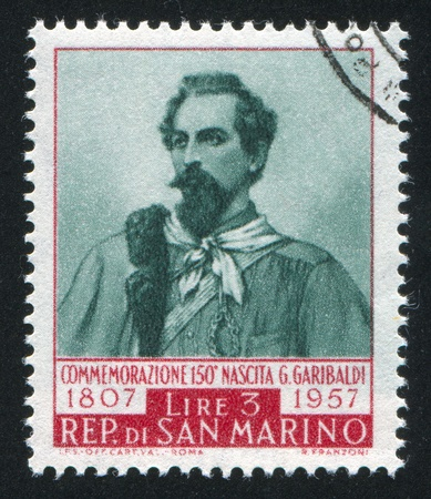 SAN MARINO - CIRCA 1949: stamp printed by San Marino, shows Giuseppe Garibaldi, circa 1949 Stock Photo - 12993986