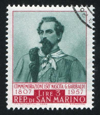 SAN MARINO - CIRCA 1949: stamp printed by San Marino, shows Giuseppe Garibaldi, circa 1949 Stock Photo - 12993986