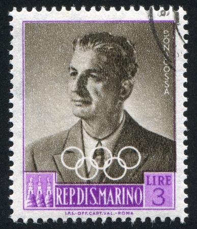 alberto: SAN MARINO - CIRCA 1959: sello impreso por San Marino, muestra conde Alberto Bonacossa, alrededor del a�o 1959