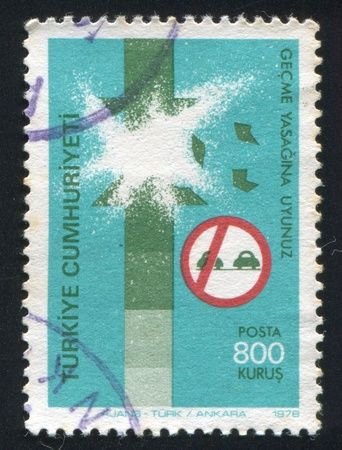 misadventure: TURKEY - CIRCA 1978: stamp printed by Turkey, shows road safety, accident caused by incorrect passing,  circa 1978