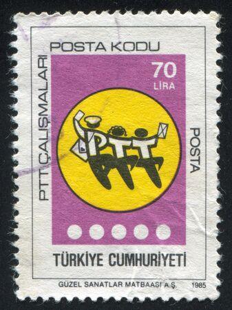 feestelijke opening: TURKIJE-CIRCA 1985: stempel gedrukt door Turkije, toont postcode inauguratie, circa 1985 Stockfoto