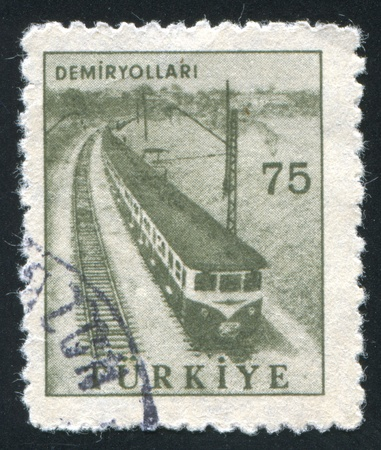TURKEY - CIRCA 1959: stamp printed by Turkey, shows railway, circa 1959 photo