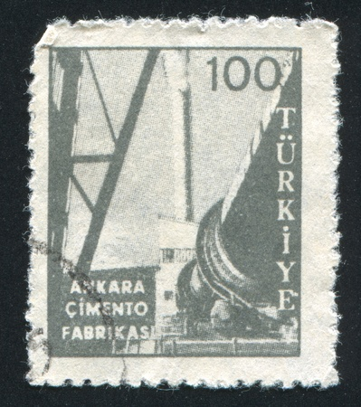 TURKEY- CIRCA 1960: stamp printed by Turkey, shows Ankara cement factory, circa 1960 photo
