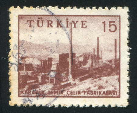 steel works: TURKEY - CIRCA 1959: stamp printed by Turkey, shows iron and steel works, Karabu, circa 1959
