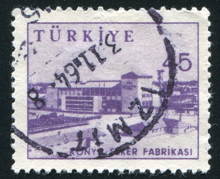 TURKEY - CIRCA 1959: stamp printed by Turkey, shows Sugar factory, Konya, circa 1959 photo
