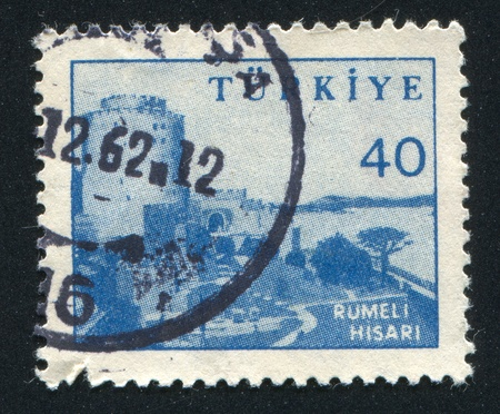 hisari: TURKEY - CIRCA 1951: stamp printed by Turkey, shows Rumeli Hisari Fortress., circa 1951 Stock Photo