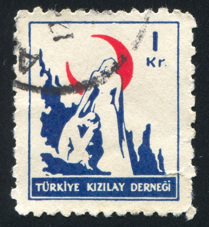 TURKEY- CIRCA 1948: stamp printed by Turkey, shows nurse offering encouragement, circa 1948 photo