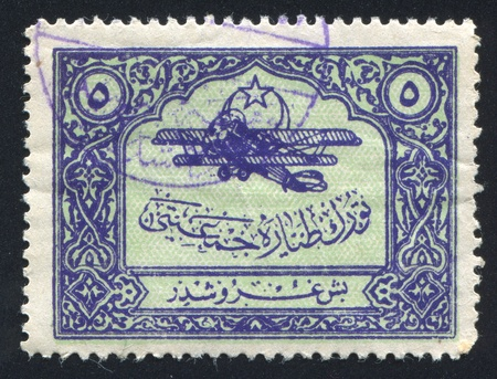 TURKEY- CIRCA 1923: stamp printed by Turkey, shows aeroplane, circa 1923 photo