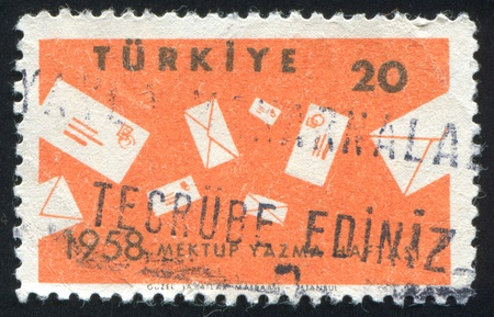 TURKEY- CIRCA 1958: stamp printed by Turkey, shows letters, circa 1958 photo