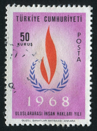 TURKEY- CIRCA 1967: stamp printed by Turkey, shows human rights flame, circa 1967