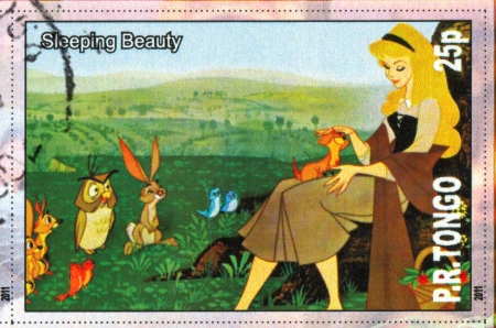 TONGO - CIRCA 2011: stamp printed by Tongo, shows Walt Disney cartoon character, Sleeping Beauty, circa 2011