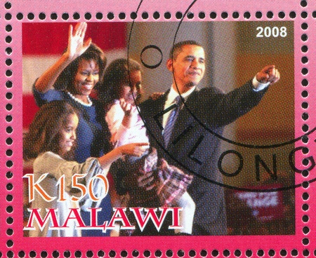 MALAWI - CIRCA 2008: stamp printed by Malawi, shows Barack Obama, circa 2008