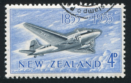 NEW ZEALAND - CIRCA 1955: stamp printed by New Zealand, shows Douglas DC-3, circa 1955 Stock Photo - 13098612