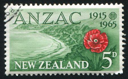 NEW ZEALAND - CIRCA 1965: stamp printed by New Zealand, shows Anzac Cove and poppy, circa 1965 photo