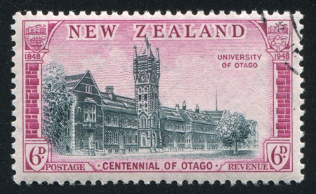 NEW ZEALAND - CIRCA 1948: stamp printed by New Zealand, shows University of Otago, circa 1948 photo