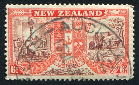NEW ZEALAND - CIRCA 1946: stamp printed by New Zealand, shows New Zealand Coat of Arms, circa 1946 photo