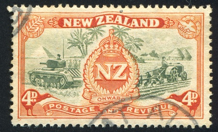 NEW ZEALAND - CIRCA 1946: stamp printed by New Zealand, shows Army Overseas Badge, circa 1946 photo