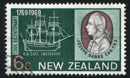 NEW ZEALAND - CIRCA 1969: stamp printed by New Zealand, shows Joseph Banks and bark Endeavour, circa 1969 Stock Photo - 13096005