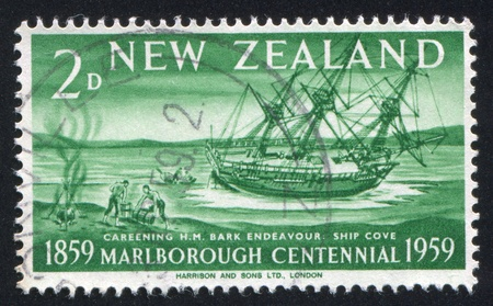 NEW ZEALAND - CIRCA 1959: stamp printed by New Zealand, shows Endeavour at Ship Cove, circa 1959 photo