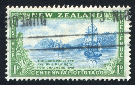 NEW ZEALAND - CIRCA 1948: stamp printed by New Zealand, shows John Wickliffeand Philip Laing, circa 1948 photo