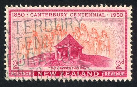 """NEW ZEALAND - CIRCA 1950: stamp printed by New Zealand, shows """"They Passed this Way"""", circa 1950"""