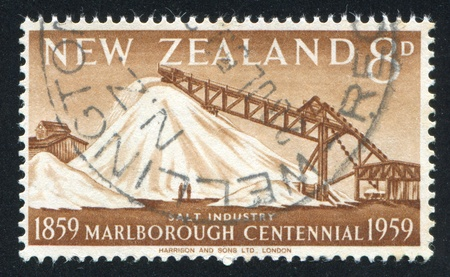 NEW ZEALAND - CIRCA 1959: stamp printed by New Zealand, shows Salt Industry, Grassmere, circa 1959 photo