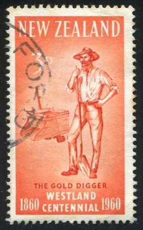 prospector: NUEVA ZELANDA - CIRCA 1960: sello impreso por Nueva Zelanda, muestra el buscador de oro, alrededor de 1960