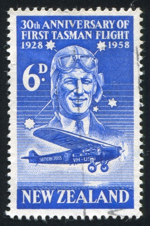 NEW ZEALAND - CIRCA 1958: stamp printed by New Zealand, shows Sir Charles Kingsford-Smith and Southern Cross circa 1958