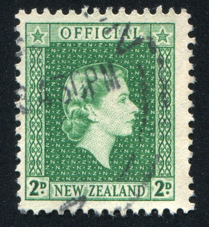 NEW ZEALAND - CIRCA 1947: stamp printed by New Zealand, shows shows queen Elizabeth II, circa 1947