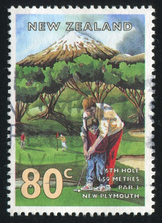 NEW ZEALAND - CIRCA 1995: stamp printed by New Zealand, shows Golf Courses, New Plymouth, circa 1995 photo