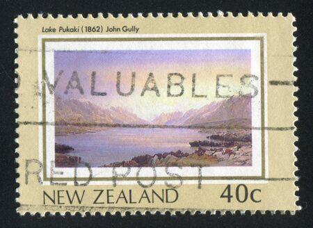 gully: NEW ZEALAND - CIRCA 1988: stamp printed by New Zealand, shows New Zealand Heritage, Lake Pukaki, by John Gully, circa 1988