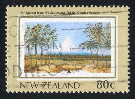 southward: NEW ZEALAND - CIRCA 1988: stamp printed by New Zealand, shows New Zealand Heritage, Mt. Egmont from the Southward, by Charles Heaphy, circa 1988 Stock Photo